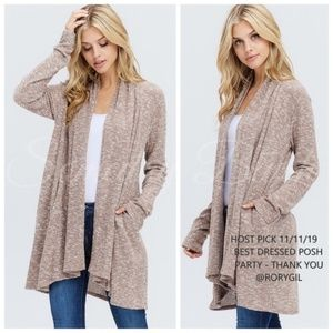 *💖JUST IN💖* Taupe Ribbed Draped Cardigan Sweater